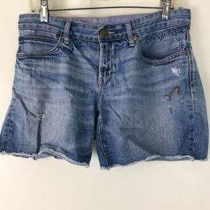 Gap 1969 embroidered distressed boyfriend shorts